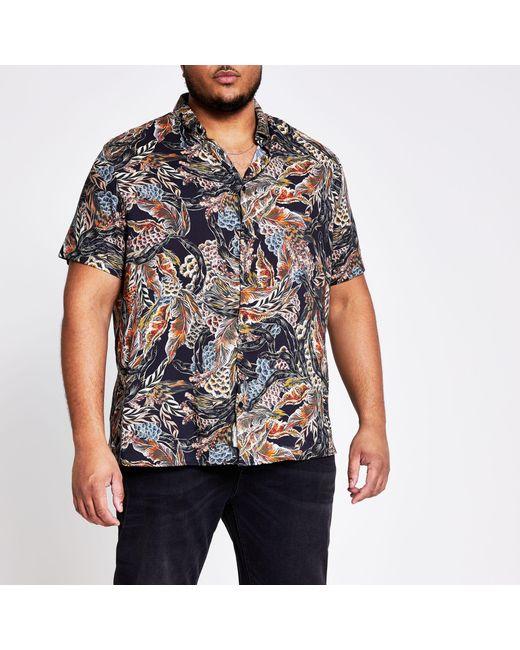 River Island Big And Tall Black Printed Short Sleeve Shirt for men