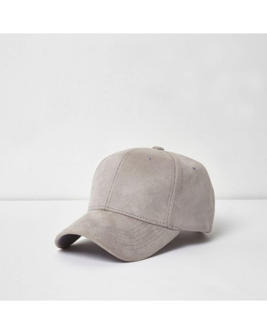 River Island   Gray Light Grey Suede Baseball Cap for Men   Lyst