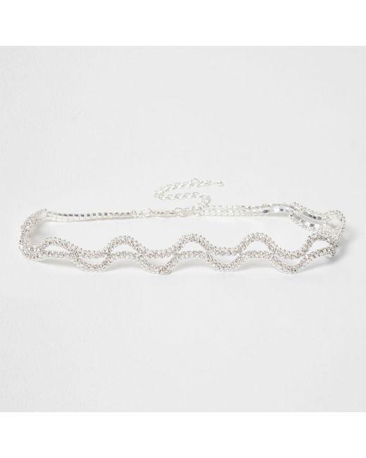River Island | Metallic Silver Tone Wavy Diamante Choker Silver Tone Wavy Diamante Choker | Lyst