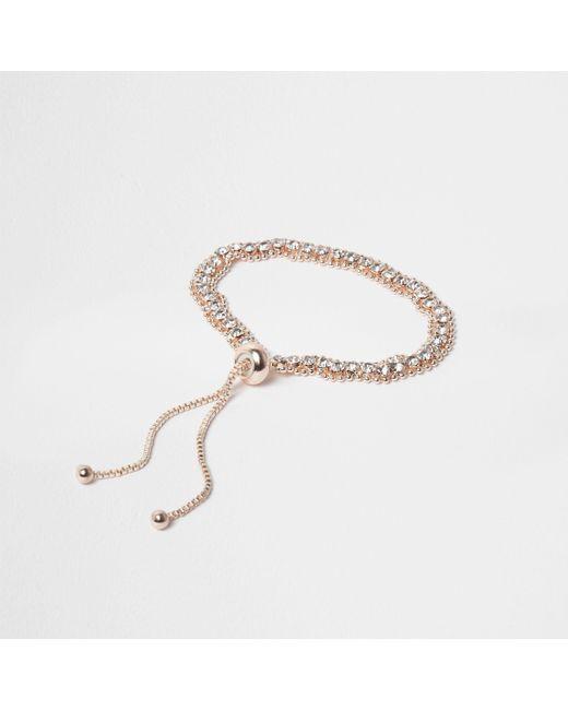 River Island - Metallic Rose Gold Tone Rhinestone Lariat Bracelet - Lyst