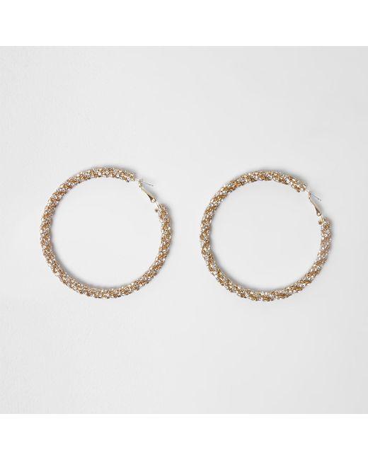 River Island - Metallic Gold Tone Sparkle Rope Hoop Earrings - Lyst