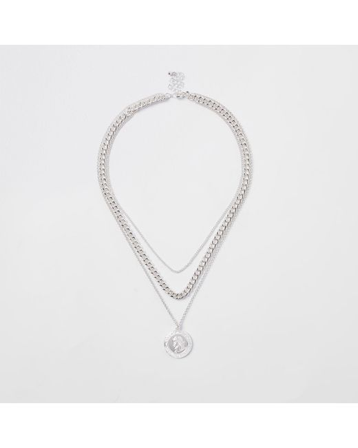 River Island - Metallic Pendant And Curb Chain Necklace - Lyst