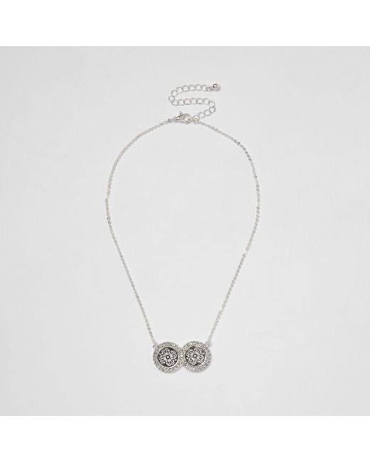 River Island | Metallic Silver Tone Double Filigree Coin Necklace Silver Tone Double Filigree Coin Necklace | Lyst