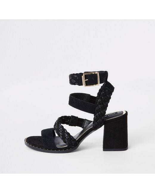 839ec5ec8ce River Island - Black Leather Woven Stud Wide Fit Sandals - Lyst ...
