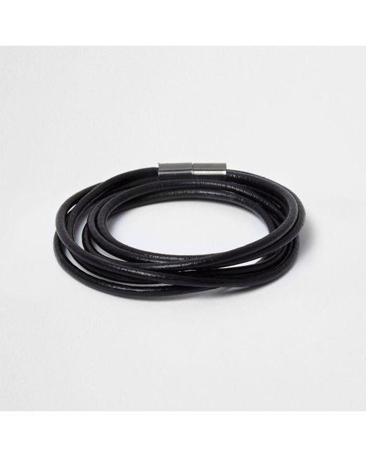 River Island | Black Wrap Around Magnetic Bracelet for Men | Lyst