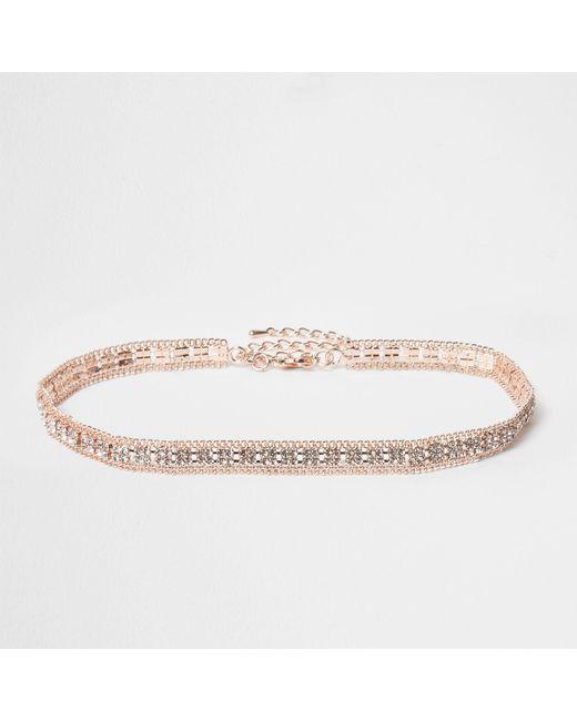 River Island - Pink Rose Gold Tone Diamante Choker - Lyst