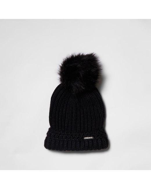 River Island | Black Pom Pom Beanie Hat | Lyst