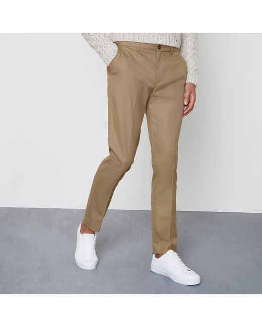 River Island - Brown Camel Skinny Fit Smart Trousers for Men - Lyst