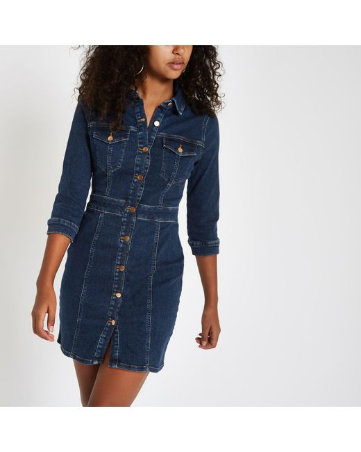 a198487864 River Island - Blue Dark Denim Fitted Shirt Dress - Lyst ...