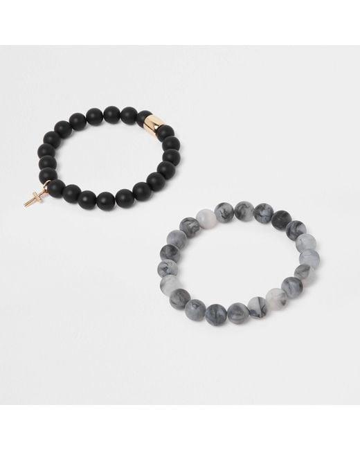 River Island - Black Beaded Matte Bracelet Pack for Men - Lyst