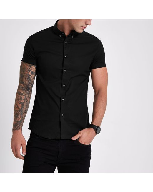 de9b0e40 River Island - Black Muscle Fit Short Sleeve Shirt for Men - Lyst ...