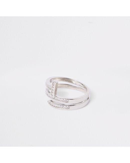River Island - Metallic Tone Diamante Layer Wrap Ring - Lyst
