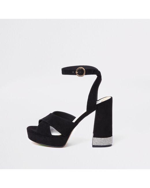 River Island - Black Heatseal Diamante Platform Sandals - Lyst