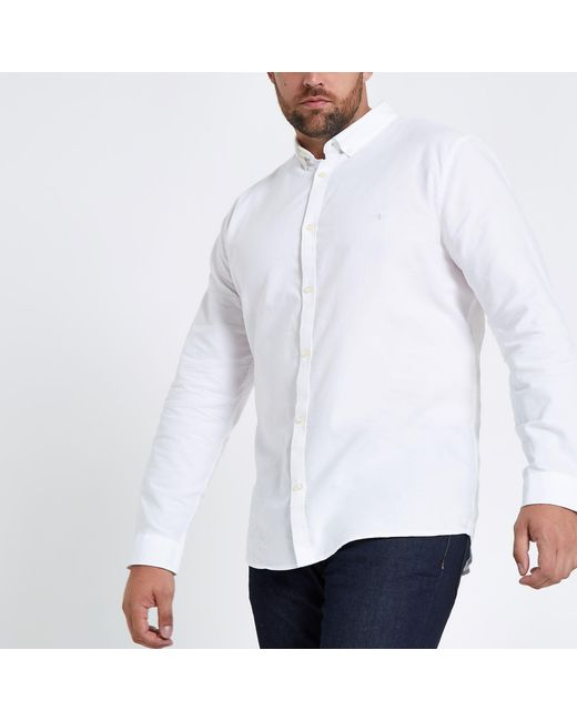 a39bfb0f86 River Island Big And Tall Long Sleeve Shirt in White for Men - Save ...