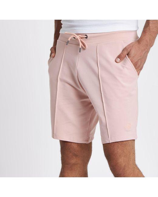 Mens Pink pintuck wasp embroidered slim shorts River Island NBqOH