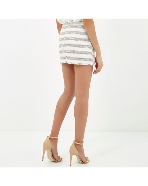 River island Cream Stripe Boucle Skirt | Lyst