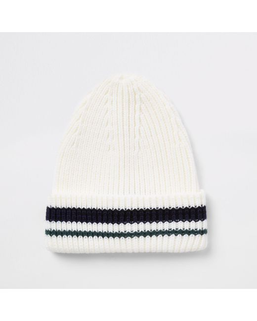 6a807b2617c River Island Stripe Knit Fisherman Beanie Hat In Natural For Men Lyst