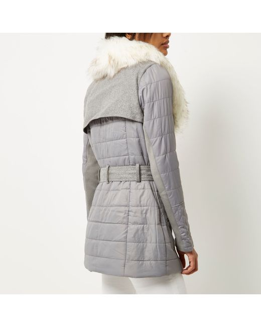 River Island Petite Padded Faux Fur Collar Jacket