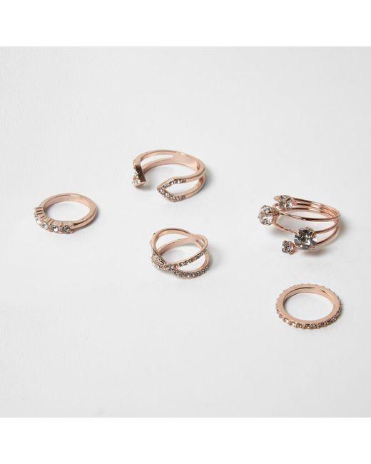 River Island | Metallic Rose Gold Diamanté Rings Pack | Lyst