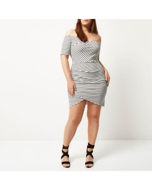 River Island Bardot Dress Black Plus Size