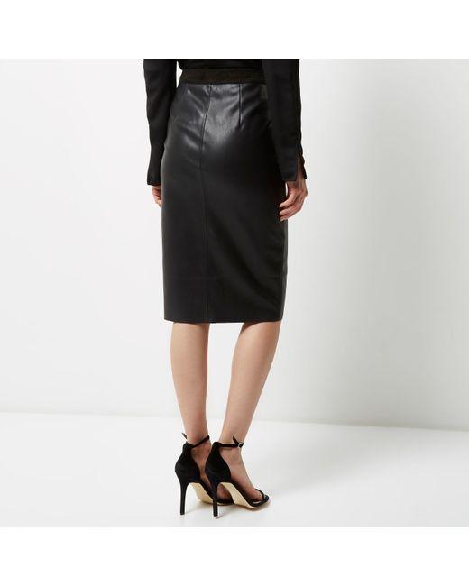 river island black panel zip pencil skirt in black lyst
