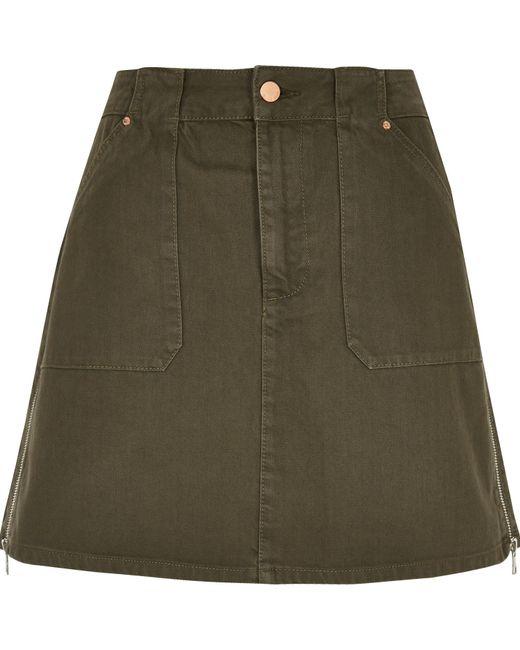 river island khaki a line denim skirt in green lyst