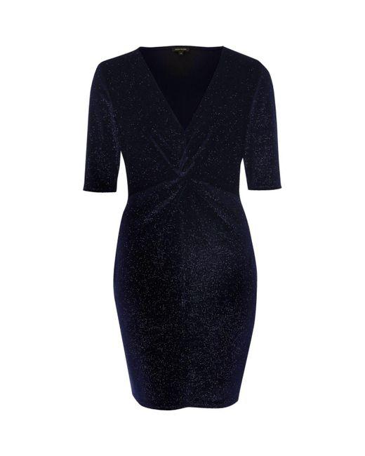 River Island | Blue Navy Sparkly Velvet Knot Dress | Lyst