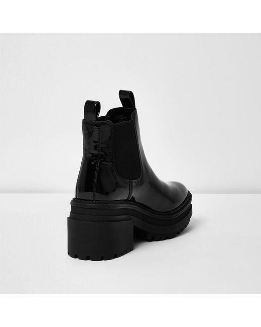 River Island Black Block Heel Cleated Sole Sandals