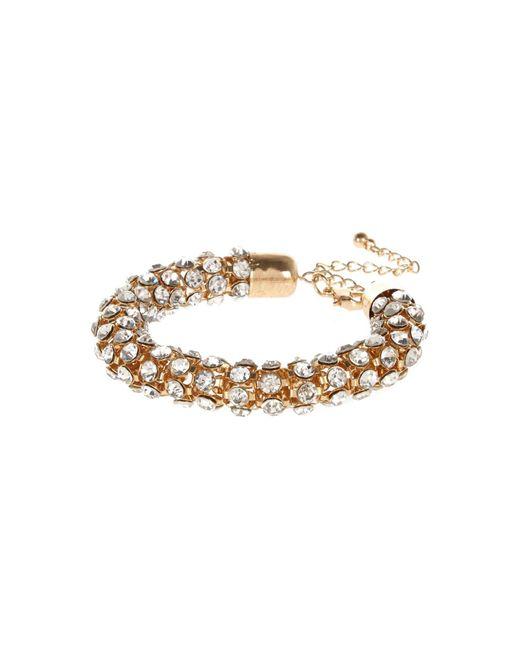 River Island | Metallic Gold Tone Embellished Rope Bracelet | Lyst