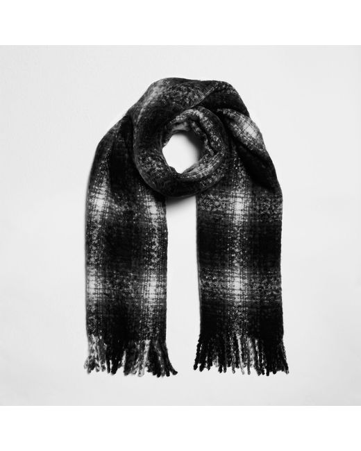 River Island - Black Shadow Check Scarf - Lyst