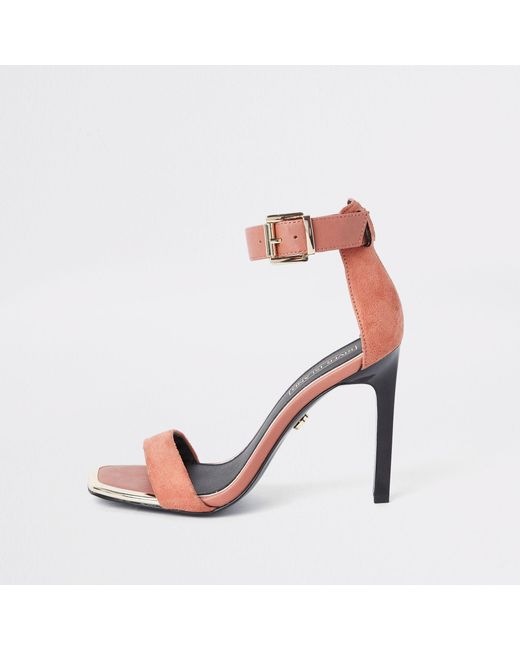 91a5a9fac1b7 River Island - Orange Barely There Square Toe Sandals - Lyst ...