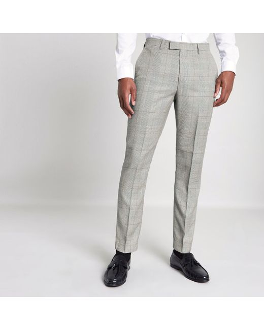 River Island - Gray Grey Check Slim Fit Suit Trousers for Men - Lyst