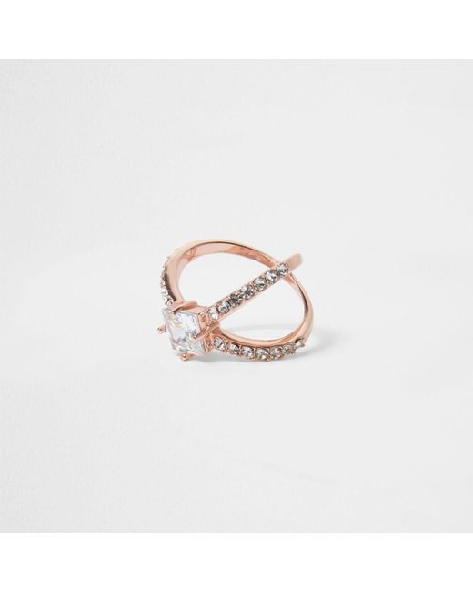 River Island | Multicolor Rose Gold Tone Diamante Cross Ring | Lyst
