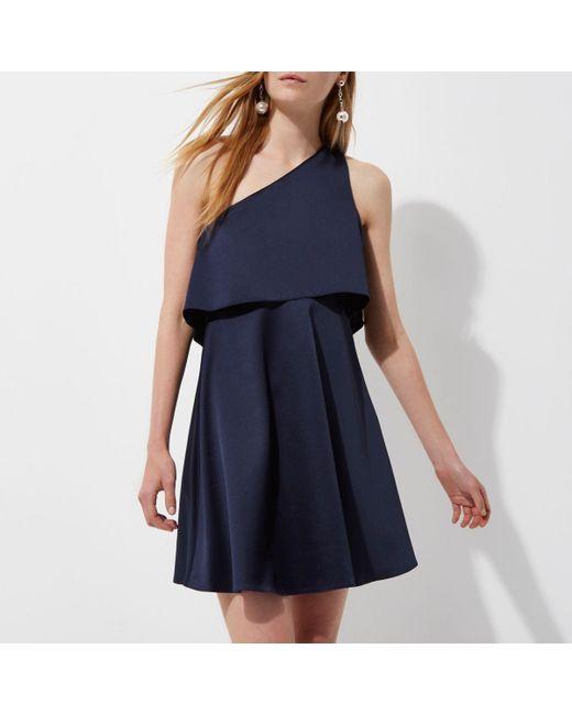 River Island | Blue Navy Satin One Shoulder Skater Dress | Lyst