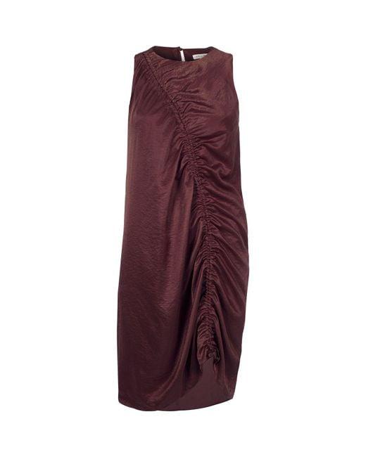 River Island | Dark Purple Ruched Front Sleeveless Dress | Lyst