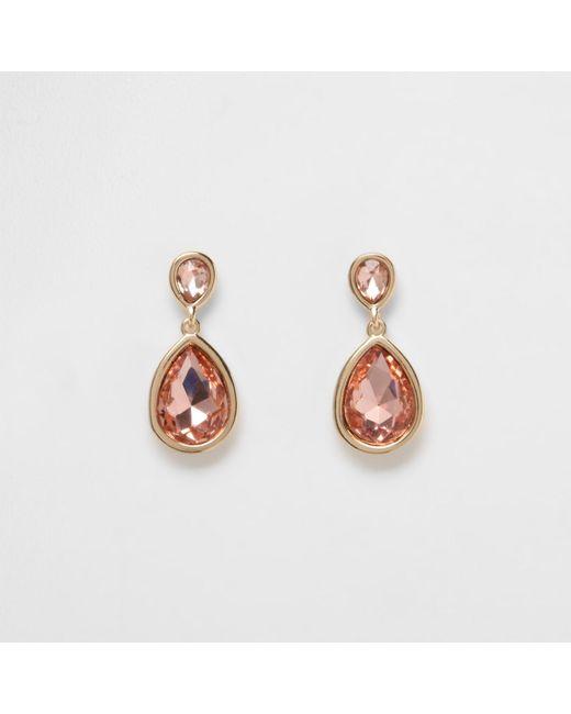 River Island | Metallic Gold Tone Peach Teardrop Dangle Earrings | Lyst