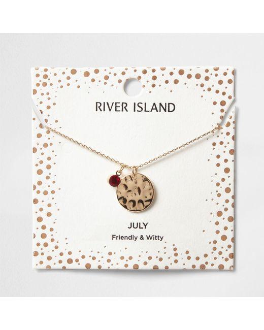 River Island | Red Gem July Birthstone Necklace | Lyst