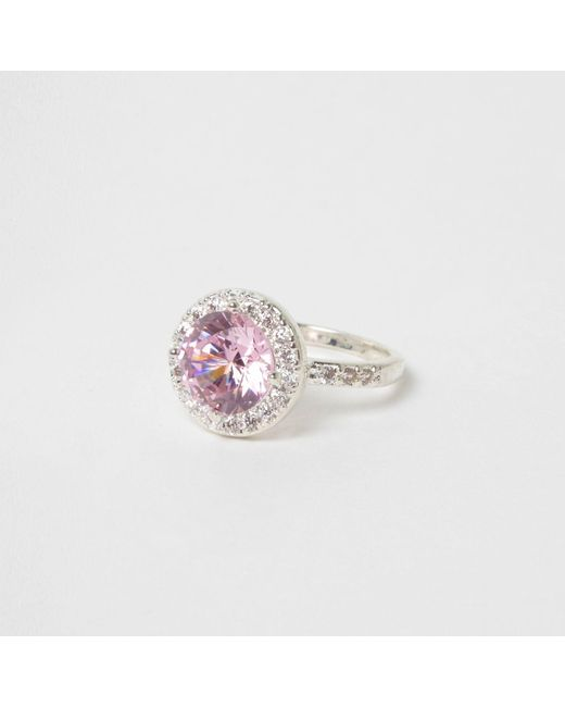 River Island | Pink Diamante Jewel Silver Tone Ring | Lyst
