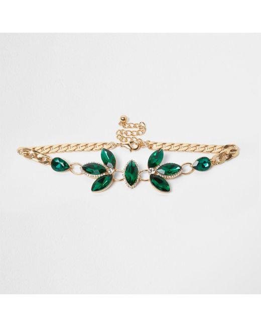 River Island | Emerald Green Gem Embellished Choker | Lyst