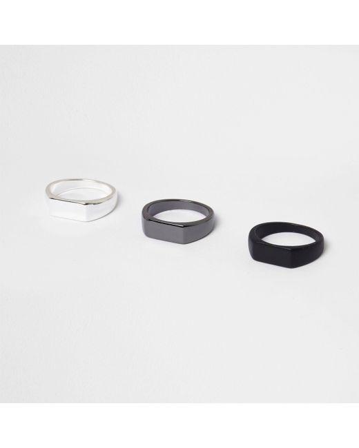 River Island - Black Ring Multipack - Lyst