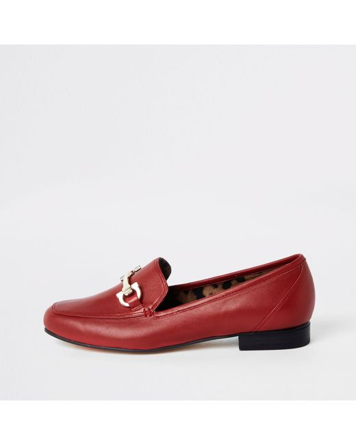 e811d40aa10 Lyst - River Island Red Leather Snaffle Loafers in Red