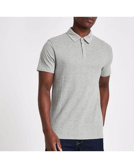 4999efa0 River Island - Gray Waffle Slim Fit Polo Shirt for Men - Lyst ...