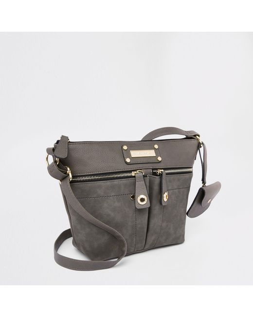 River Island - Gray Light Grey Zip Pocket Cross Body Bag - Lyst ... b34718e428f9e