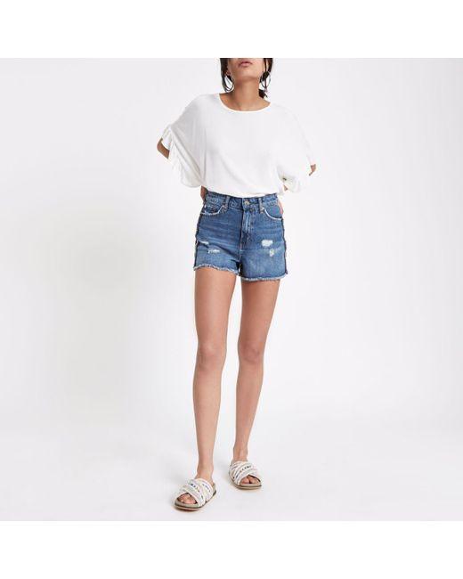 Womens Mid Blue Annie side stripe denim shorts River Island GYmH4