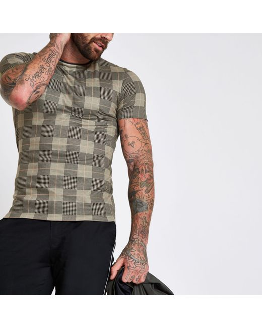 49ae14a8 River Island - Brown Check Print Muscle Fit T-shirt for Men - Lyst ...