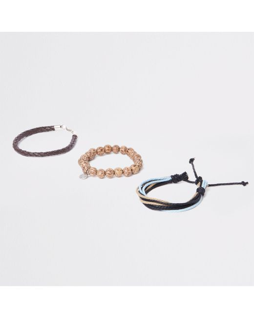 River Island - Brown Bead And Lattice Bracelet Pack - Lyst