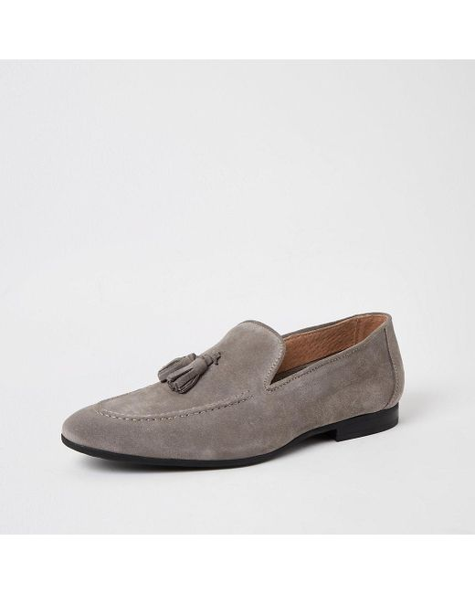 Light Grey Suede Tassel Loafers