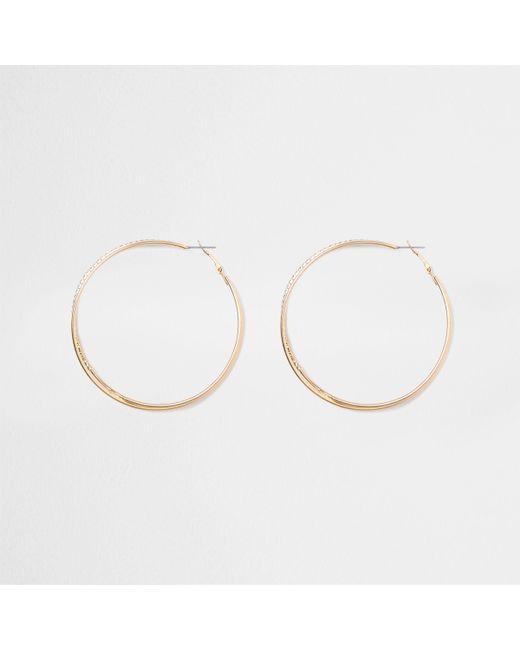 River Island - Metallic Gold Tone Double Hoop Diamante Earrings - Lyst