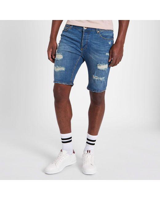 0e7be8718b Men's Blue Big And Tall Skinny Ripped Denim Shorts