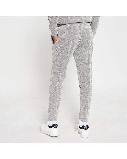 River Island Gray Maison Riviera Grey Check Slim Fit joggers for men